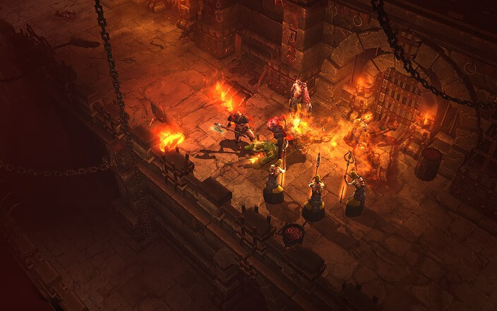 In Diablo 3 findet man häufig dunkle Dungeons die meist nur durch Feuer und Fähigkeiten erhellt werden.