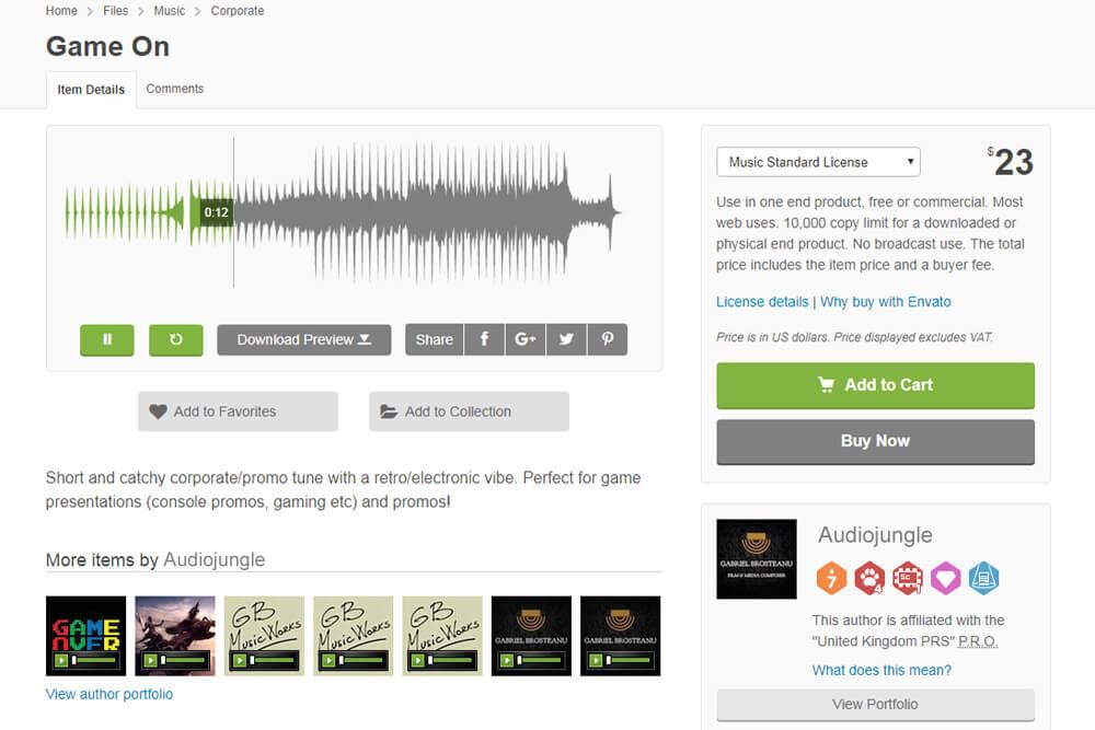 Audiojungle bietet bei Sounds und Songs eine große Wave-Form als Anhaltspunkt.